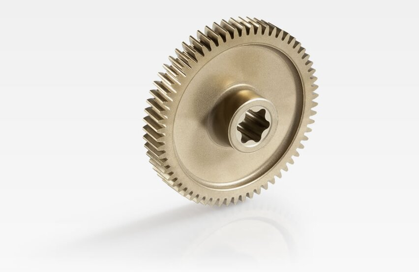 Helical output gear for electric parking brake
