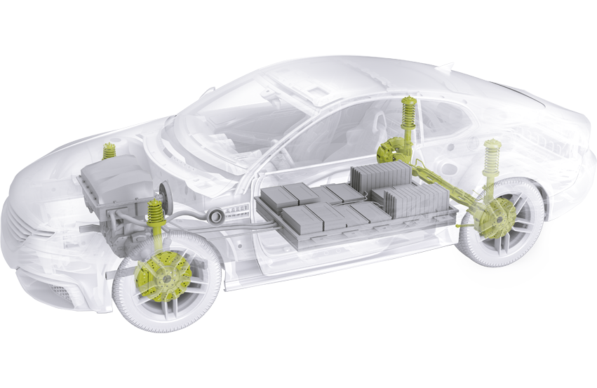 Representation of a car with Schunk products for bodywork and brakes