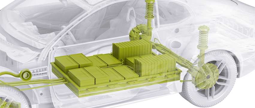 Representation of a car with Schunk products for E-Powertrain