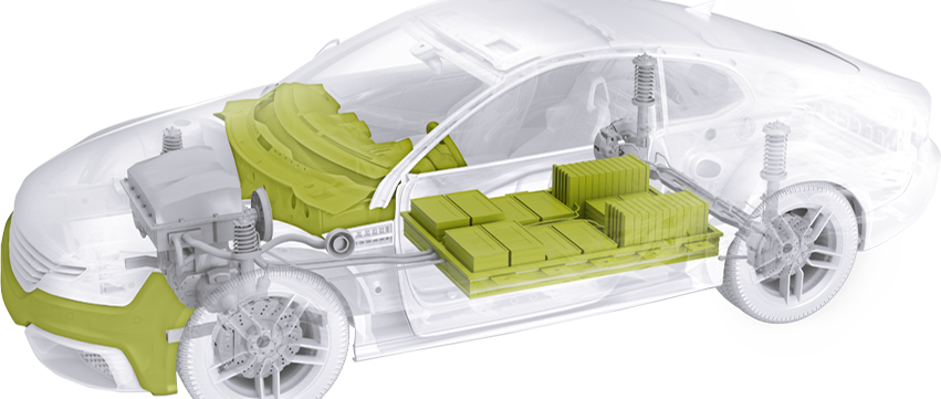 Representation of a car with Schunk products for power electronics and sensors