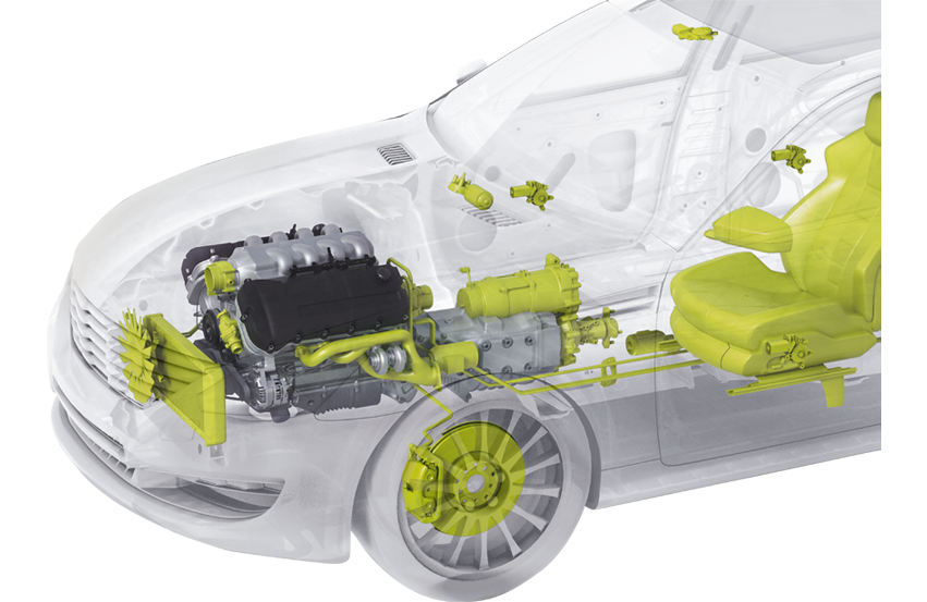 Representation of a car with Schunk products for powertrain