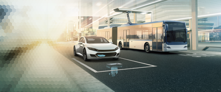Electric car and e-bus with Schunk Smart Charging on the road