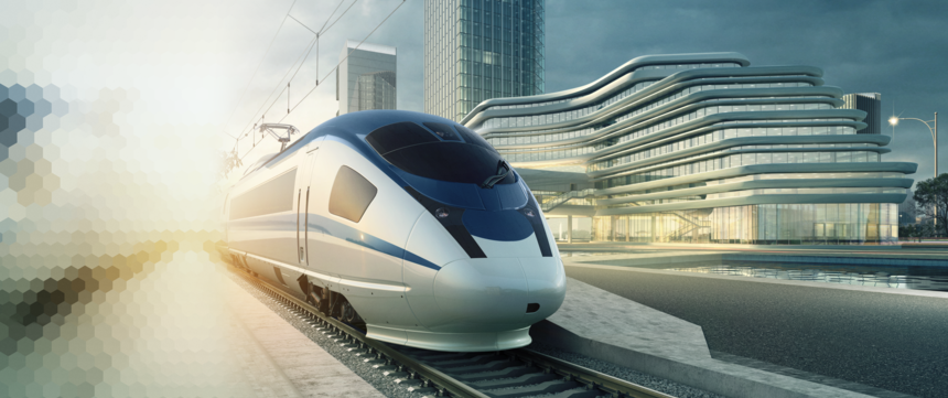 High speed train with overhead contact line and pantograph